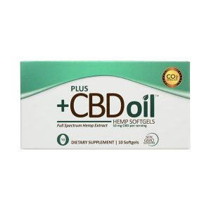PLUS CBD Oil Green Hemp Softgels, 10 Pack